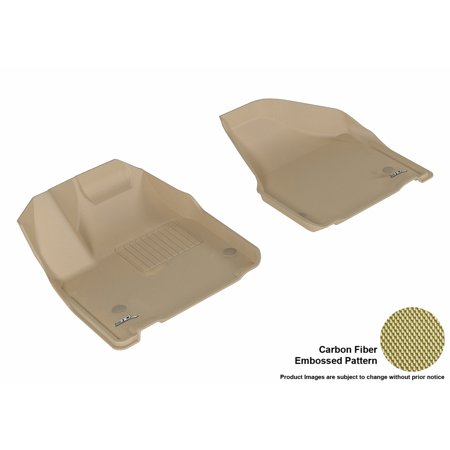3D MAXpider 2017-2017 Chrysler Pacifica First Row All Weather Floor Mats in Tan with Carbon Fiber Look 2007 Tan 1st Row