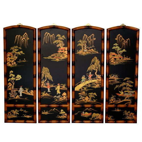 Oriental Furniture 36'' x 48'' Ching Wall Plaques 4 Panel...