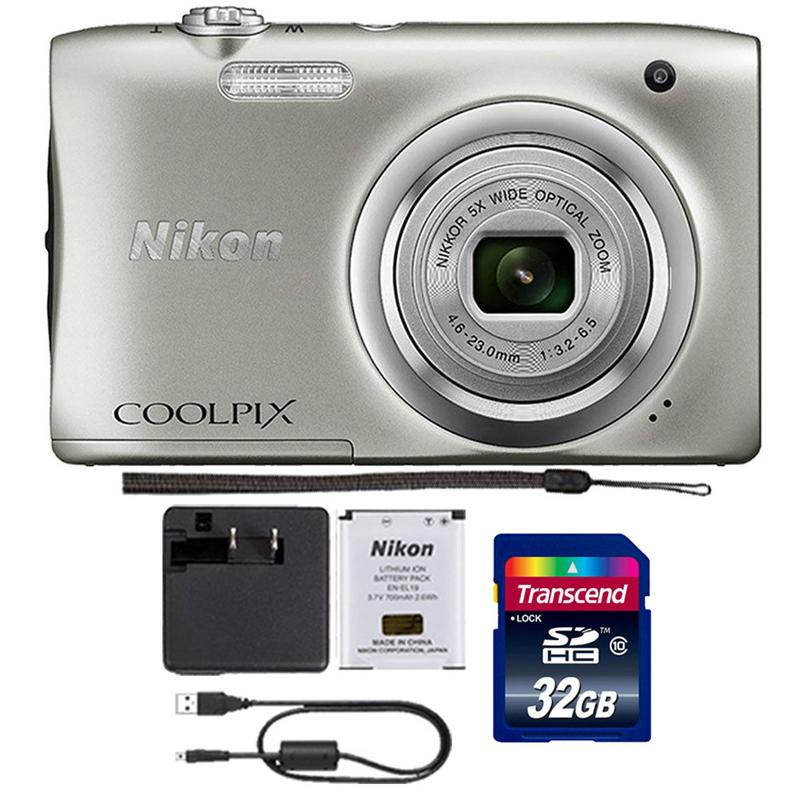 Nikon Coolpix A100 20.1MP 5x Optical Zoom Compact Digital Camera (Silver) + 32GB Memory Card Gift Set
