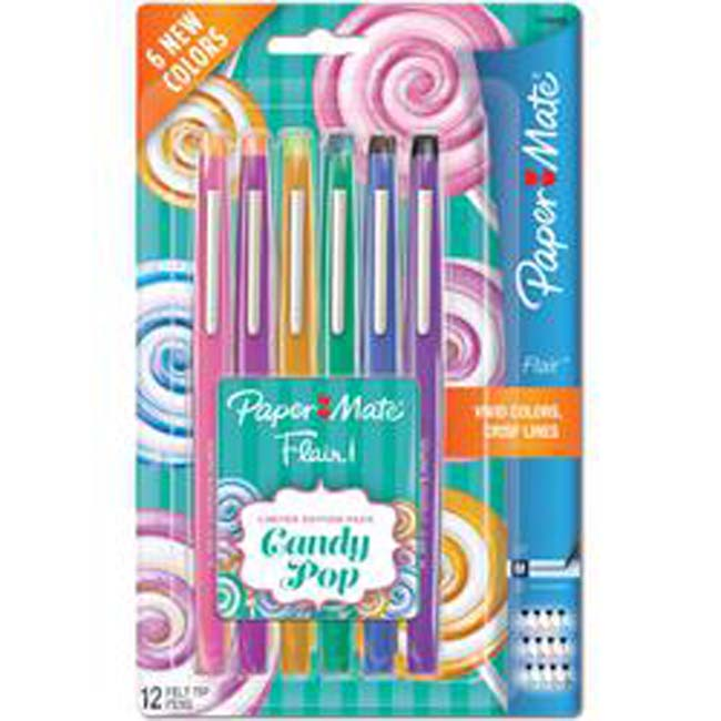 Paper Mate Candy Pop Flair Medium Felt Tip Pens 12/Pkg-Assorted