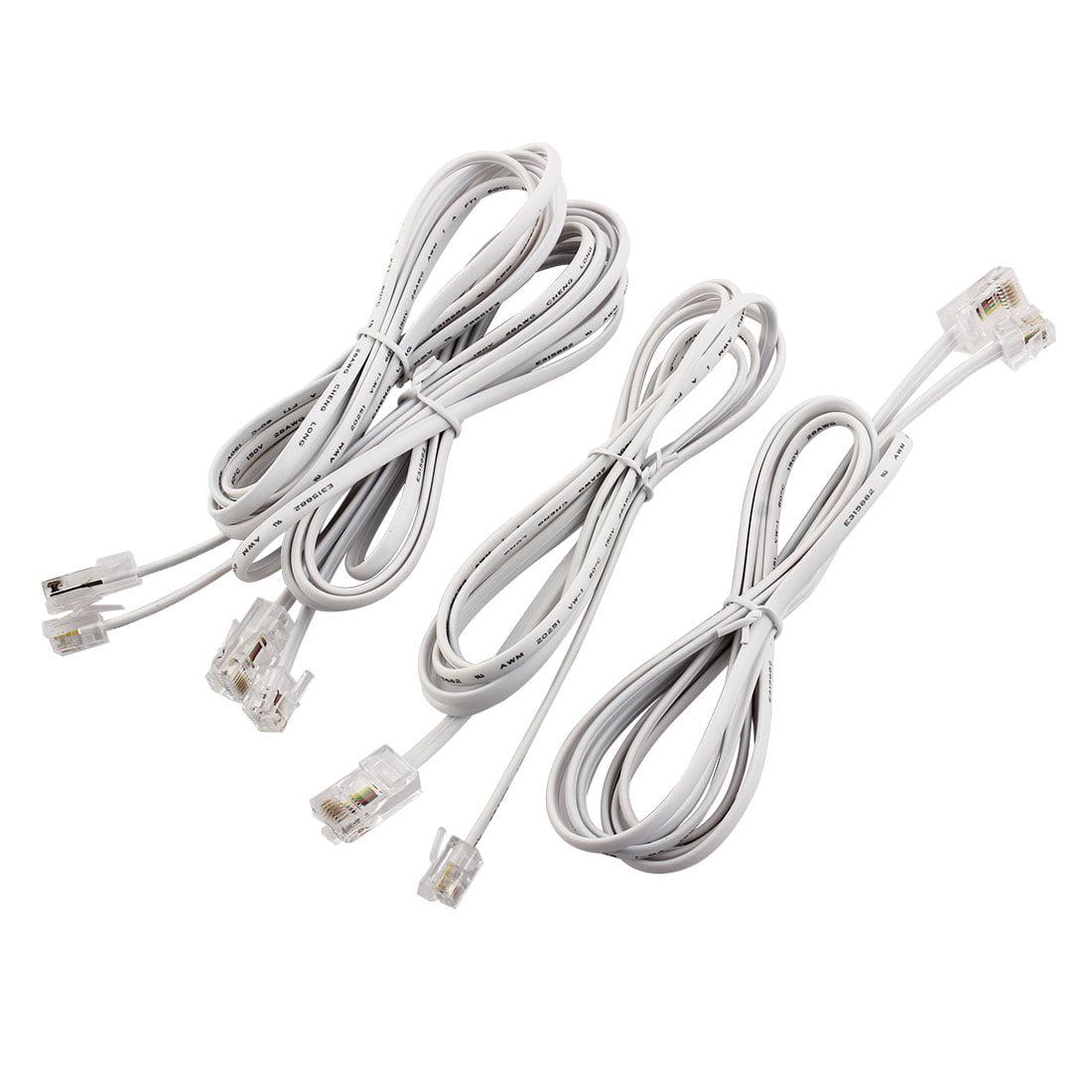 Plastic RJ11 6P4C to RJ45 8P8C Modular Telephone Network Extension Cable 4pcs