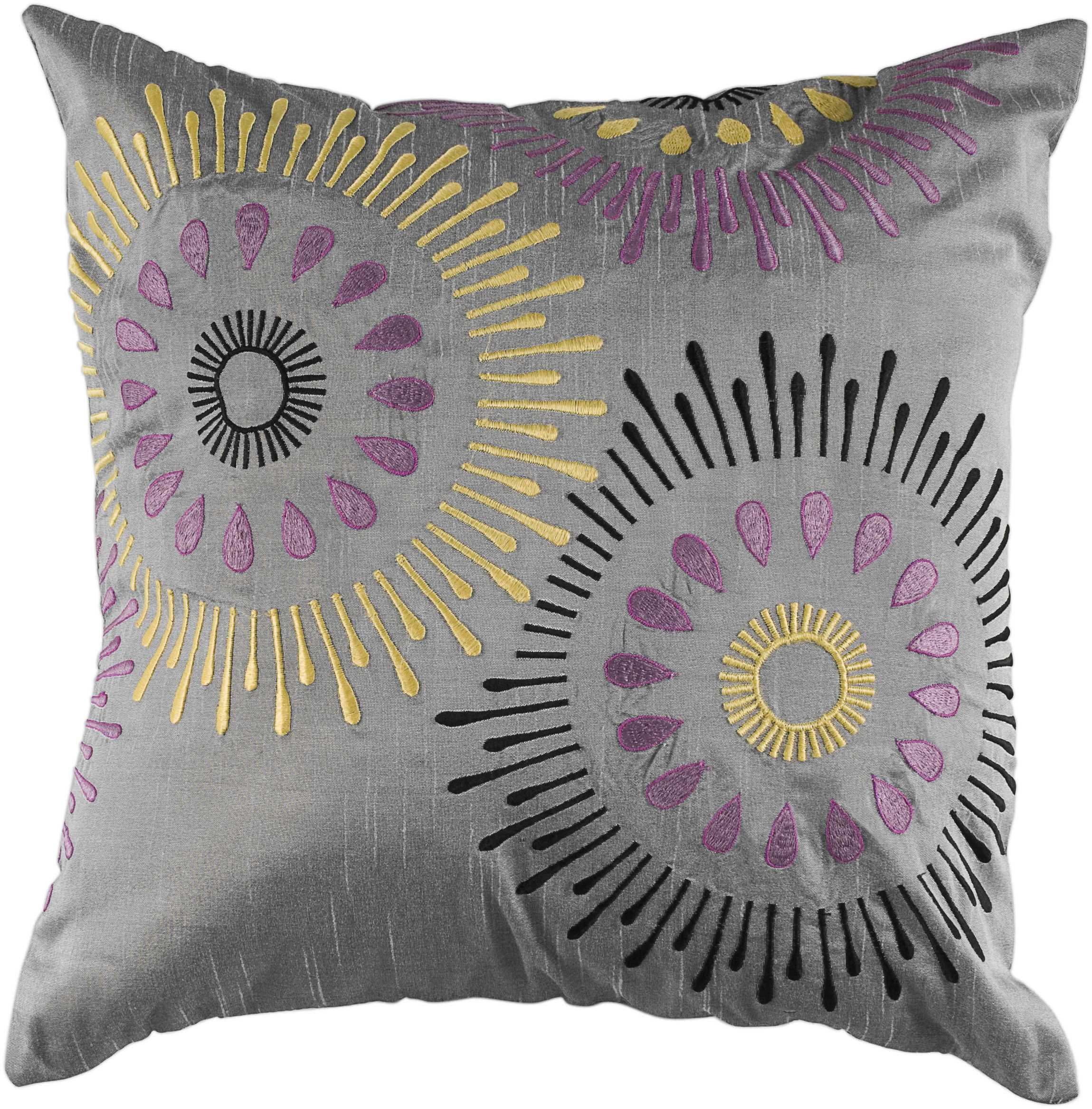 """Rizzy Home Decorative Poly Filled Throw Pillow Medallion 18""""X18"""" Grey"""