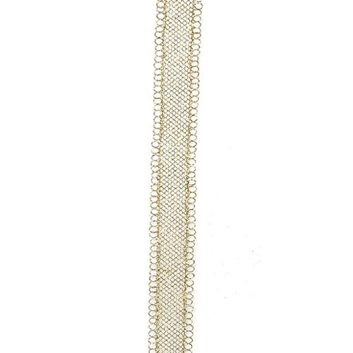"""Pack of 6 Gold Wire Mesh Glittered Craft Ribbon Christmas Garland 3"""" x 5'"""