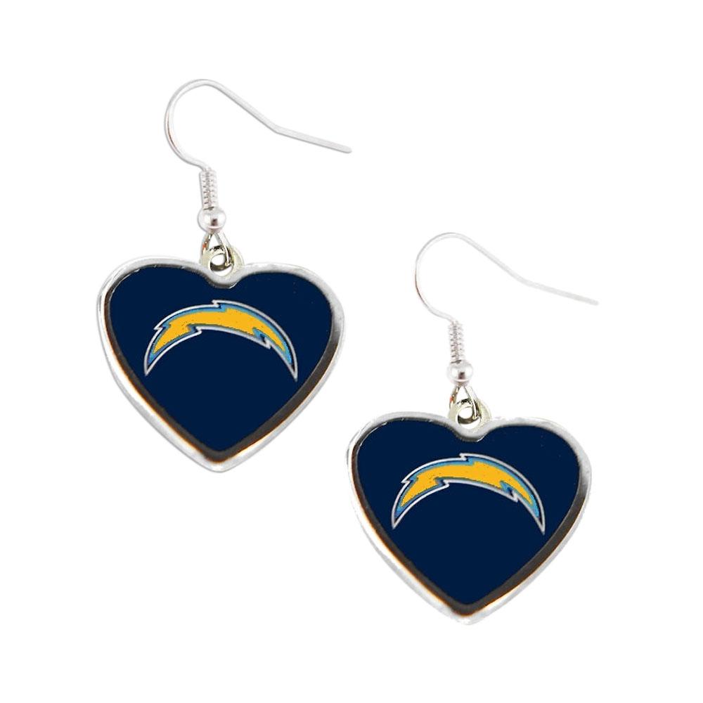 NFL SAN Diego Chargers Sports Team Logo Non-Swirl Heart Shape Dangle Earring - image 1 de 1