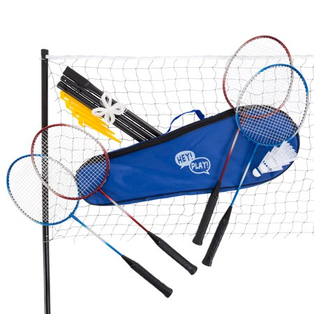 Badminton Set Complete Outdoor Yard Game with 4 Racquets, Net with Poles, 3 Shuttlecocks and Carrying Case by Hey!