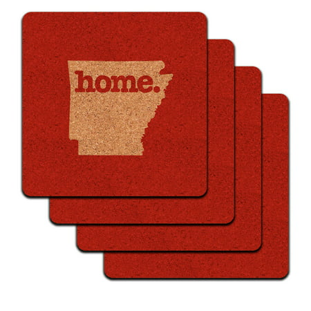 Arkansas AR Home State Low Profile Cork Coaster Set - Solid (Ar 15 Low Profile Gas Block And Tube)
