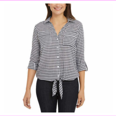 Jones New York Womens Tie Front Button Down Shirt - VARIETY SIZE and COLOR M/Black Gingham