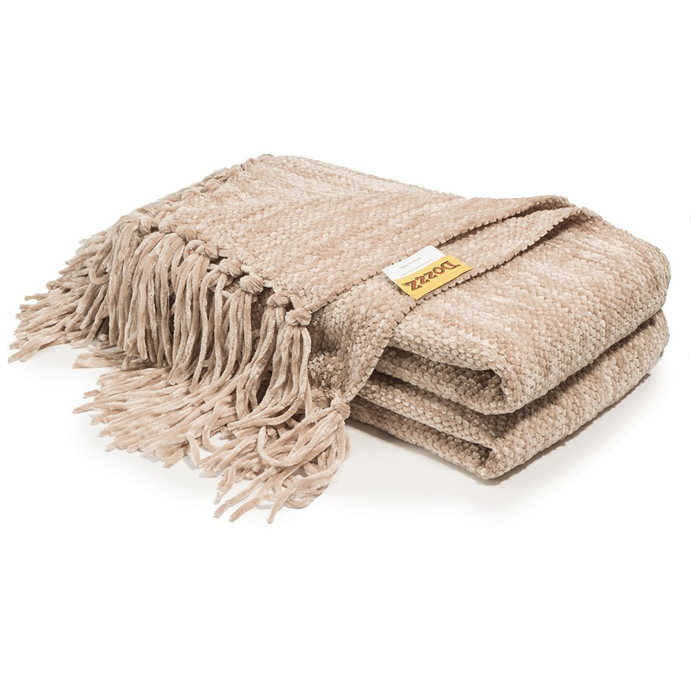 Miraculous Decorative Thick Chenille Throw Blanket For Couch Throws Sofa Cover Soft Bedding Throw Blanket With Fringe 60 X 50 Inch Light Brown Cjindustries Chair Design For Home Cjindustriesco