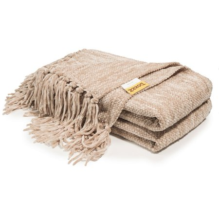 Decorative Thick Chenille Throw Blanket for Couch Throws Sofa Cover Soft Bedding Throw Blanket with Fringe, 60 x 50 Inch, Light Brown (Cleveland Browns Tim Couch)