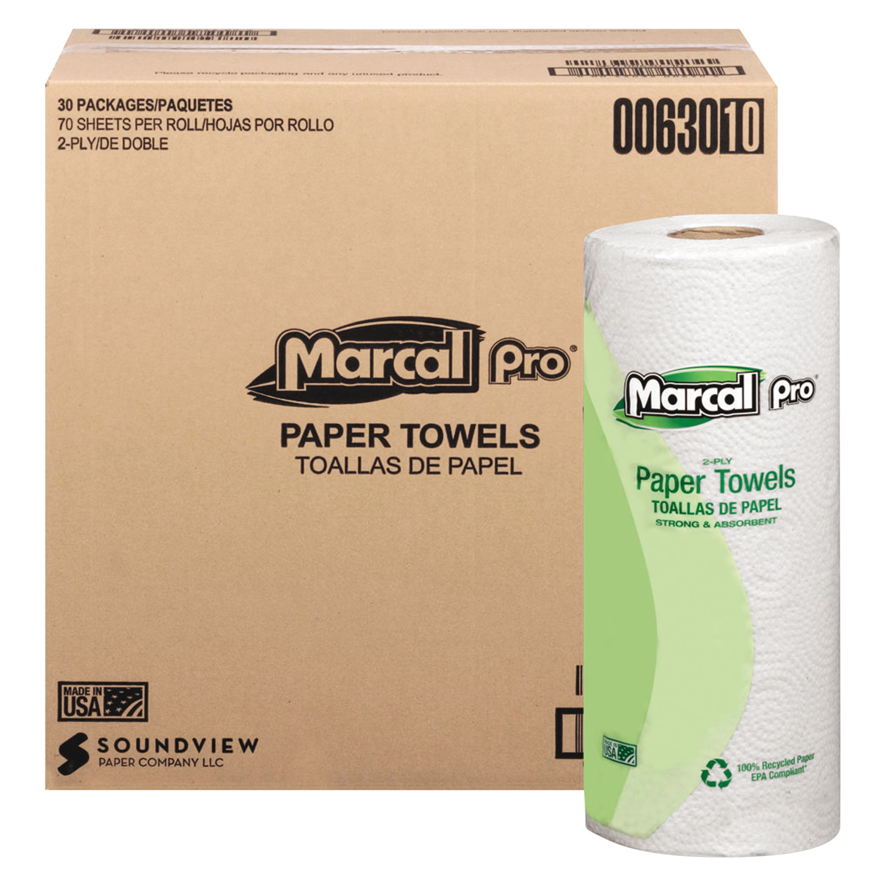 Marcal PRO 100% Premium Recycled Towels, 2-Ply, 11 x 9, White, 70/Roll, 30 Rolls/Carton