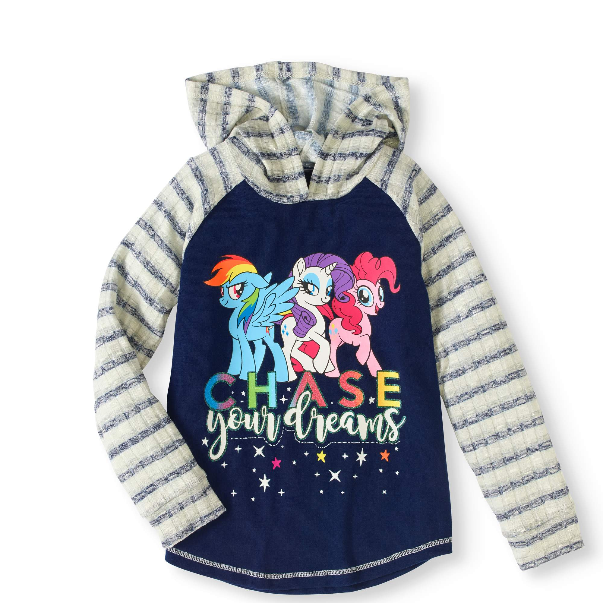 Girls' Long Sleeve Hacci Top with Hoodie