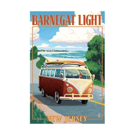 Barnegat Light, New Jersey - VW Van Coastal Drive Print Wall Art By Lantern Press
