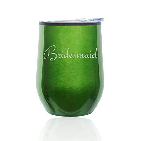 Stemless Wine Tumbler Coffee Travel Mug Glass with Lid Bridesmaid Bachelorette Wedding (Green) - Bachelorette Tumblers
