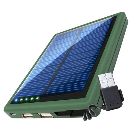 5000mAh Solar Power Bank Phone Charger with Emergency Backup Solar Panel by ReVIVE - Dual USB Port Portable External Battery Pack For Charging Phones, Bluetooth Headphones, Wearables, &