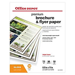 Office Depot Professional Brochure And Flyer Paper, Glossy, 8 1/2in. x 11in., 50 Lb, Pack Of 100 Sheets, - Glossy Brochure Paper