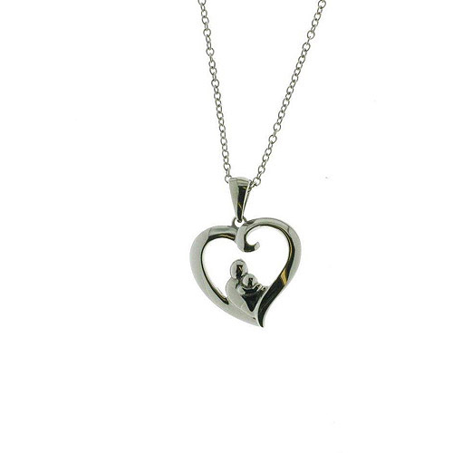 """Connections from Hallmark Stainless-Steel Mother and Daughter Heart Pendant, 18-20"""""""
