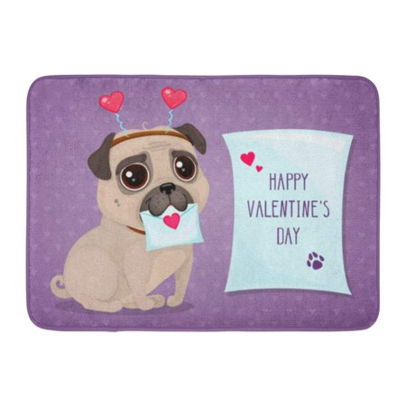 GODPOK Animal for Valentine's Day with Cute Pug and Letter Cartoon Lovely Dog on Purple Text Happy Character Rug Doormat Bath Mat 23.6x15.7 inch