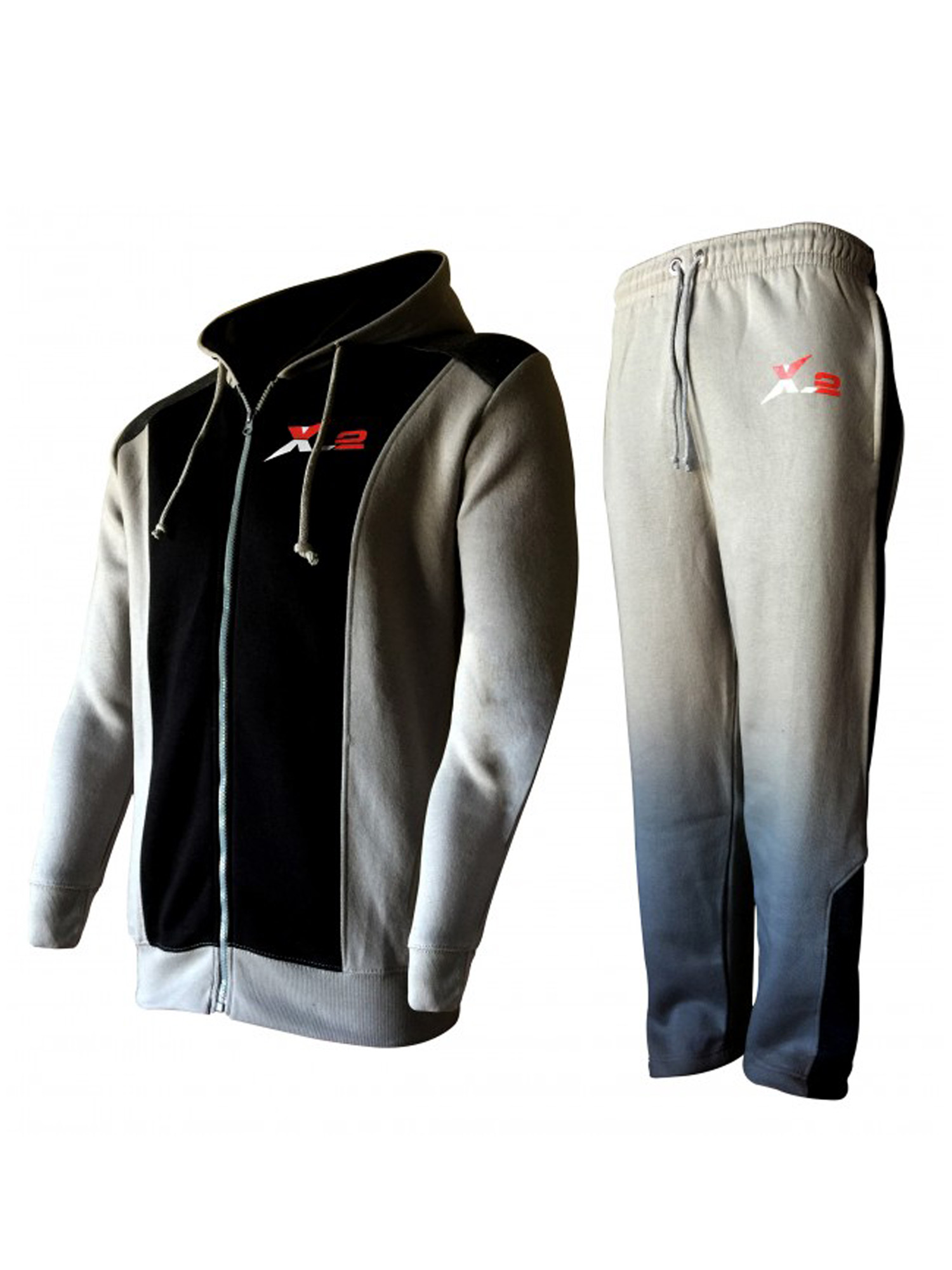 X-2 Full Zip Fleece Tracksuit Jogging Sweatsuit Activewear Hooded Black-Gray Large