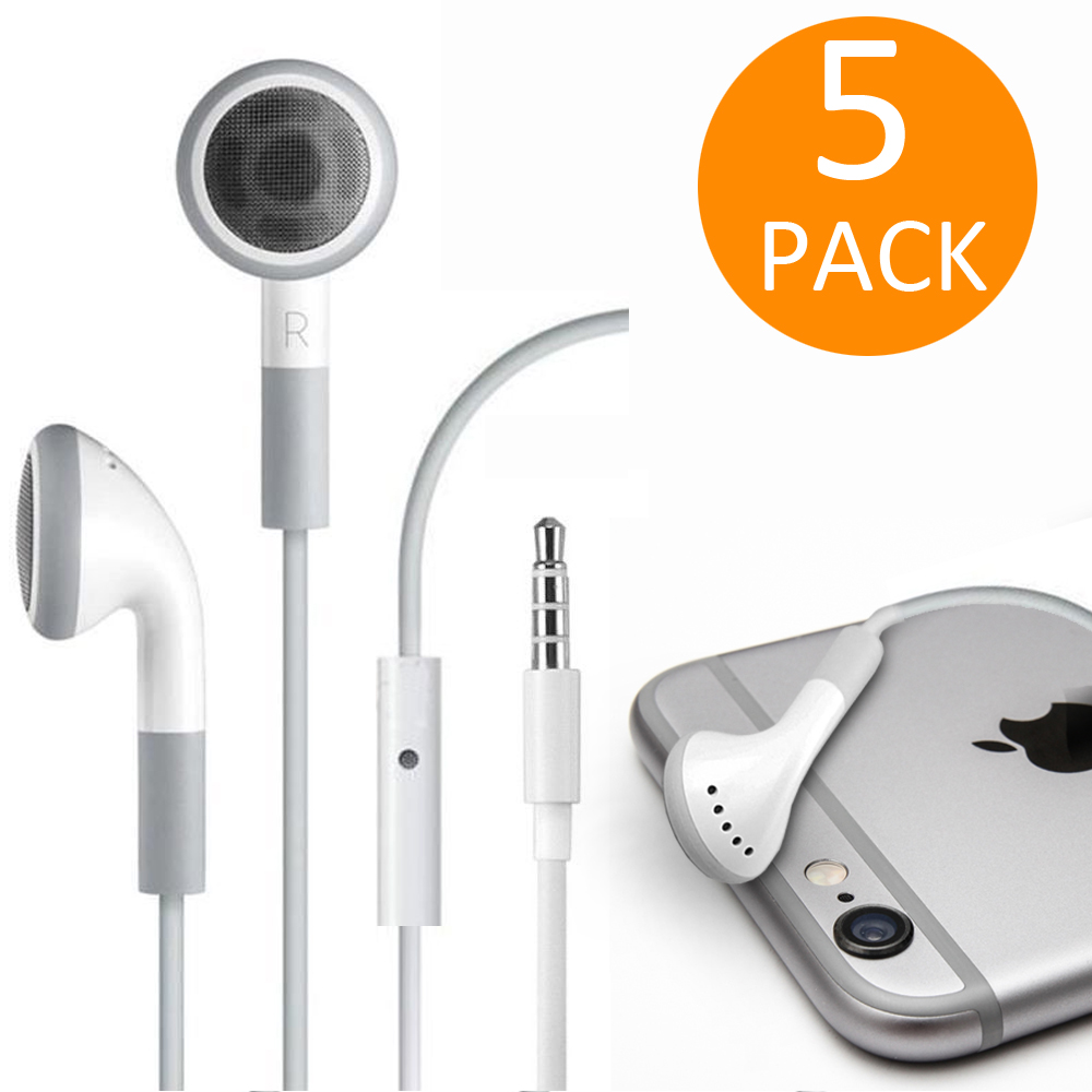 Fosmon 5 Pack of 3.5mm Earphone Mic for Samsung Galaxy S9+/S9 Apple iPhone 6 5S 5C 5 4S SE iPod iPad Earbud Headset