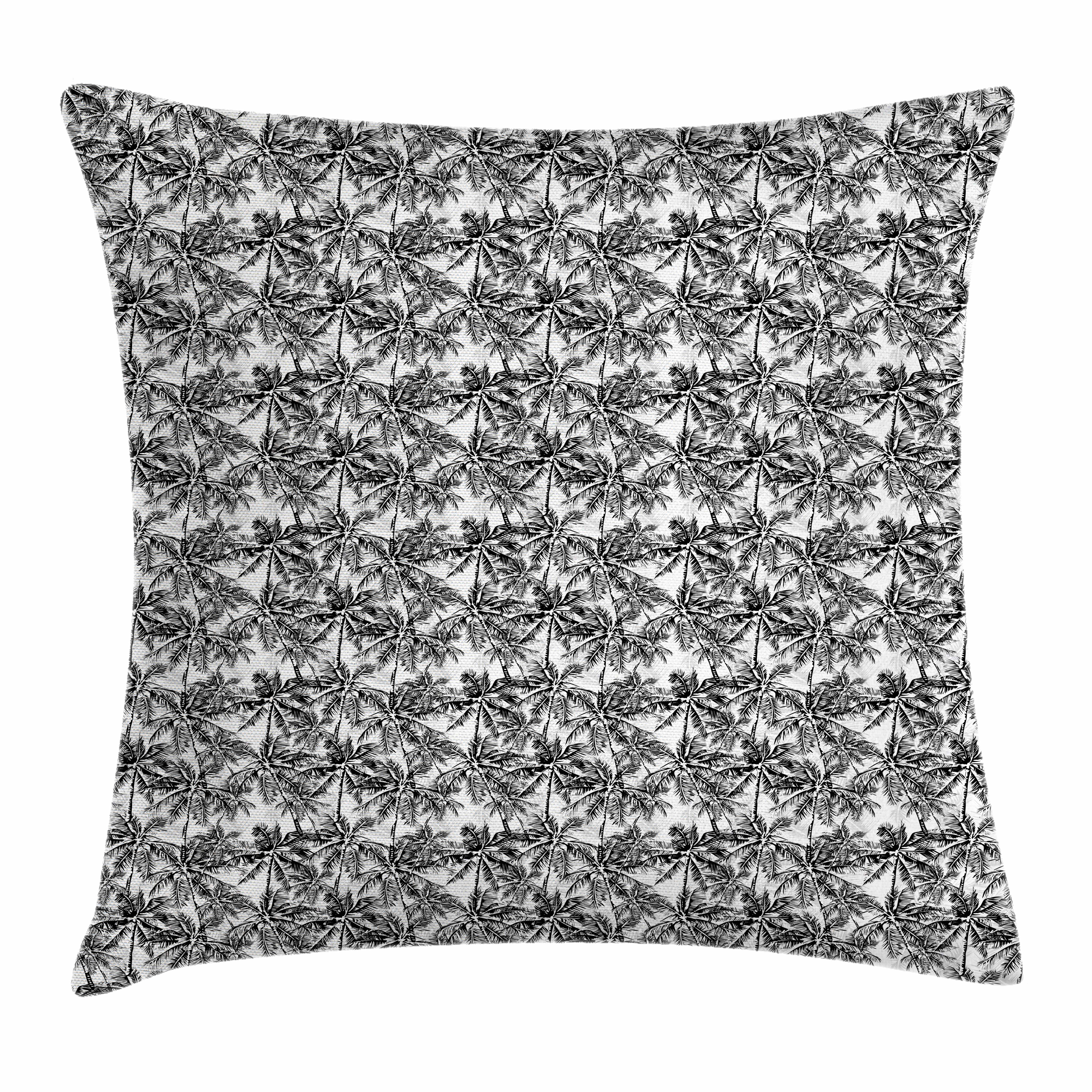 Palm Tree Throw Pillow Cushion Cover, Monochrome Woodland Pattern Depicting Black Palm Tree on a White Background, Decorative Square Accent Pillow Case, 24 X 24 Inches, Black White, by Ambesonne
