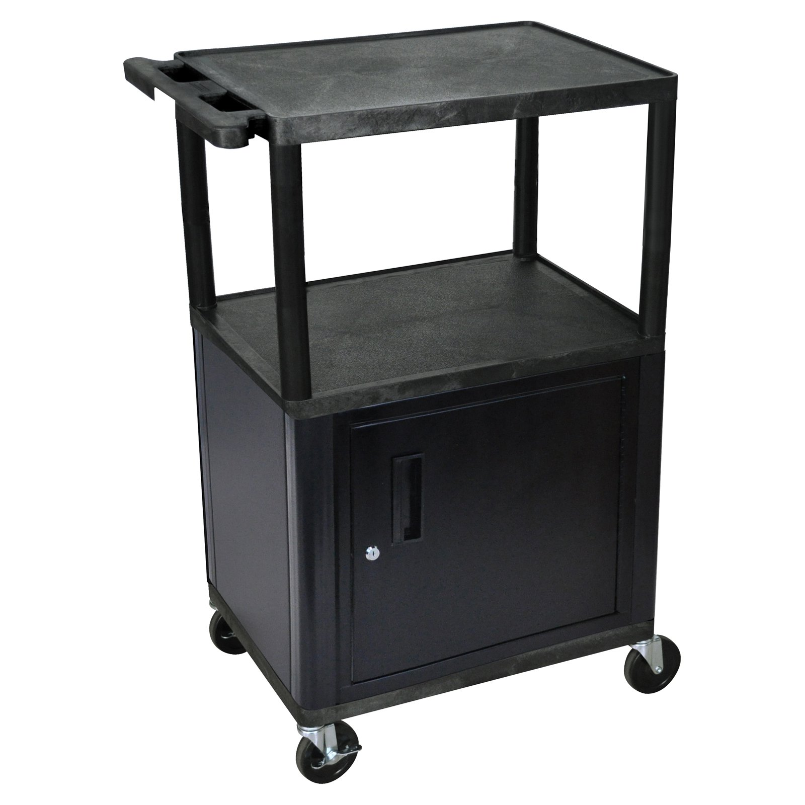 Luxor Black LP Cart with Cabinet