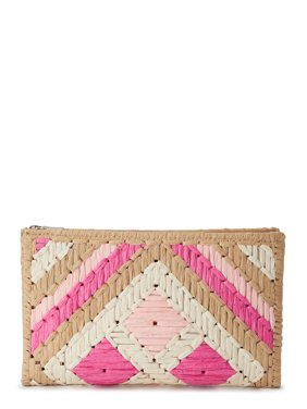 Eliza May Rose Straw Pattern Woven Summer Clutch