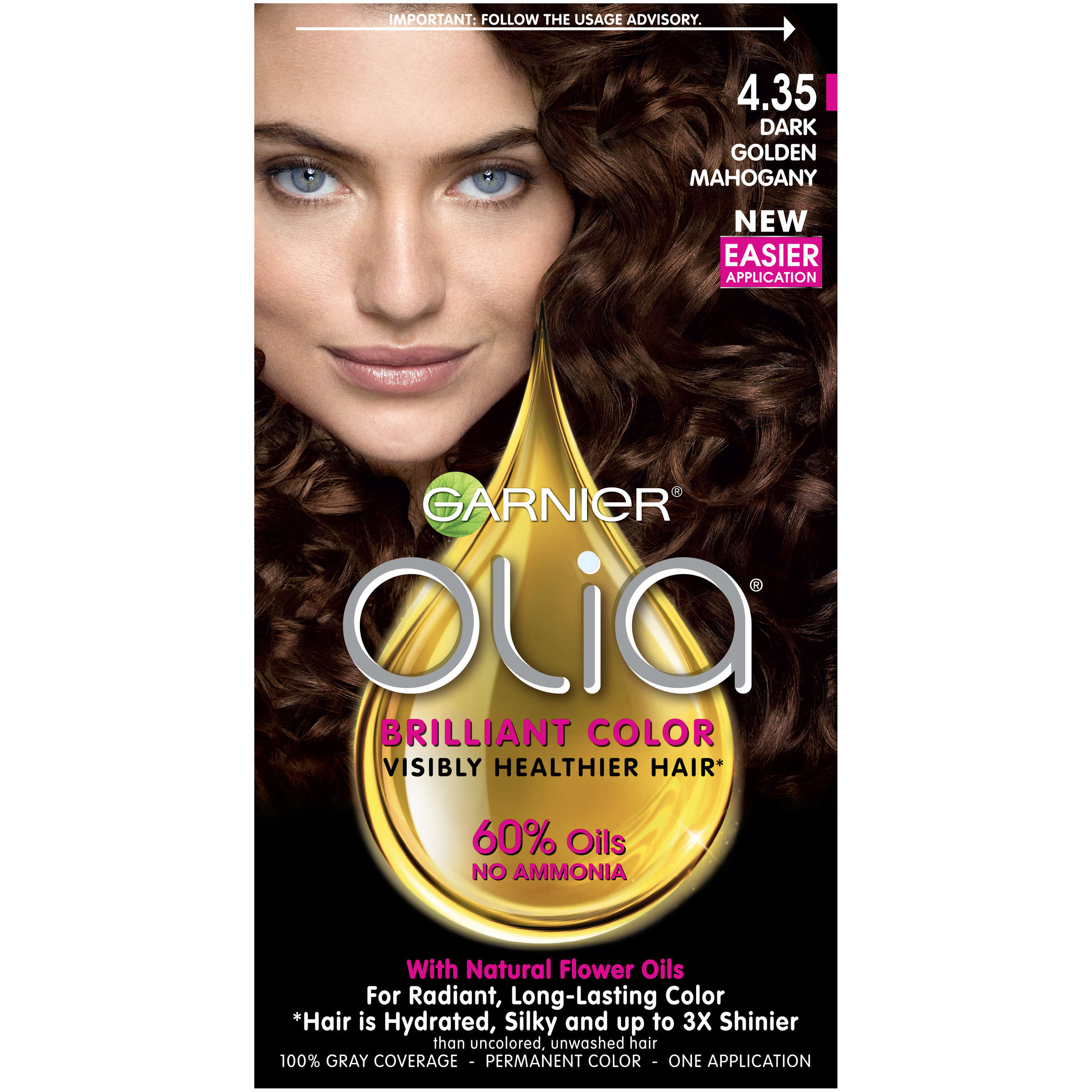 Garnier Olia Oil Powered Permanent Hair Color, 5.03 Medium Neutral Brown