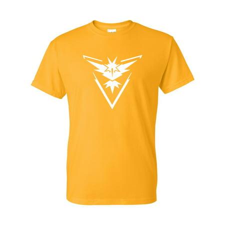 Pokemon Go Gym Team Instinct Yellow Mens Womens Short Sleeve T-Shirt Top - Custom Team Gear