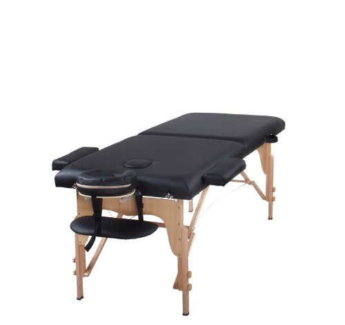 The Best Massage Table Two Fold Black Portable Massage Ta...