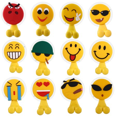 Toothbrush Holder with Wall Mounted,Antibacterial Emoji Toothbrush Holder Suction Cup for Mirror/Shower,12 Sets Cute Decorative Bathroom Toiletries Accessories Organizers & Office Cable Holder