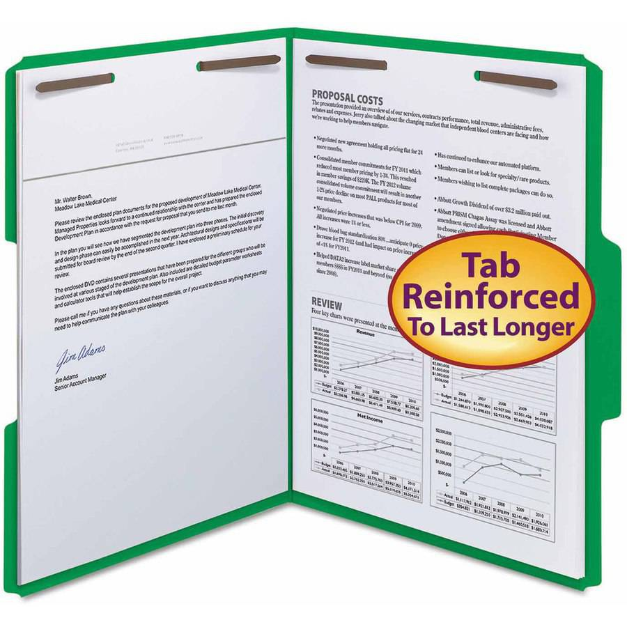 "Smead WaterShed/CutLess Folder, Top Tab, 2 Fasteners, 3/4"" Expansion, Letter, Green, 50/Box"