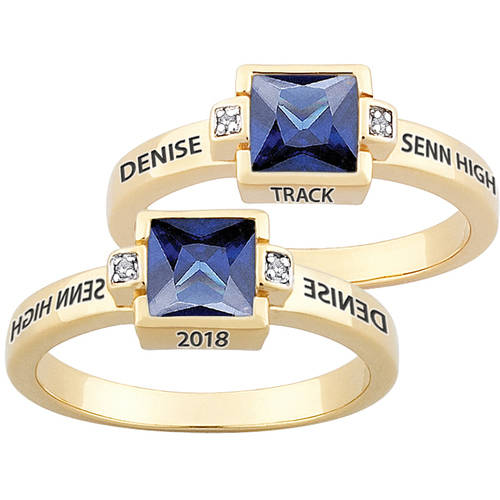 Personalized Gold Over Sterling ''Freestyle'' Square Birthstone & Diamond Class Ring