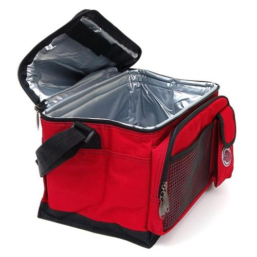 New Deluxe Lunch Bag Cooler Box Insulated Large Multiple Pockets Shoulder Strap Red One Size