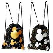 Disney Mickey Mouse Drawstring Backpack Gold/Silver 2-Pack