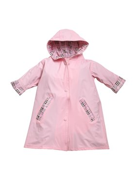 Fit Rite Boys Girls Hooded Waterproof Long Raincoat Full Length Rain Jacket For Children and Toddler With Reflective Stripes 6x/7 Navy