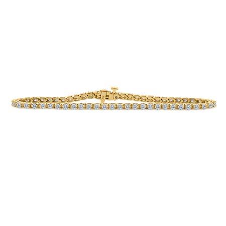 2.00ctw Natural Diamond Tennis Bracelet in 14k Yellow Gold Moving Diamonds Bracelet