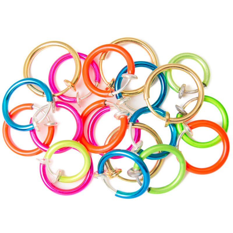 Non-piercing Fake Hoops Anodized Twenty-pack