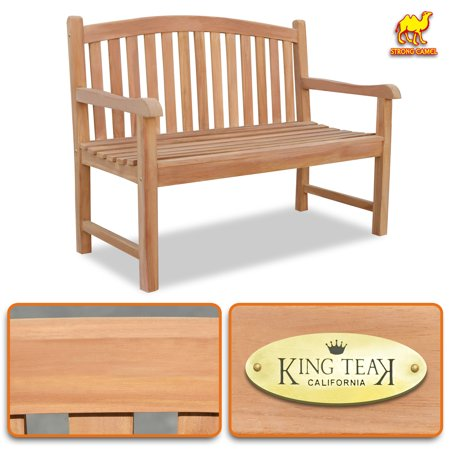 Strong Camel 4ft Long Teak Wood Garden Bench Seat Outdoor Terrace Patio Seating Furniture ()
