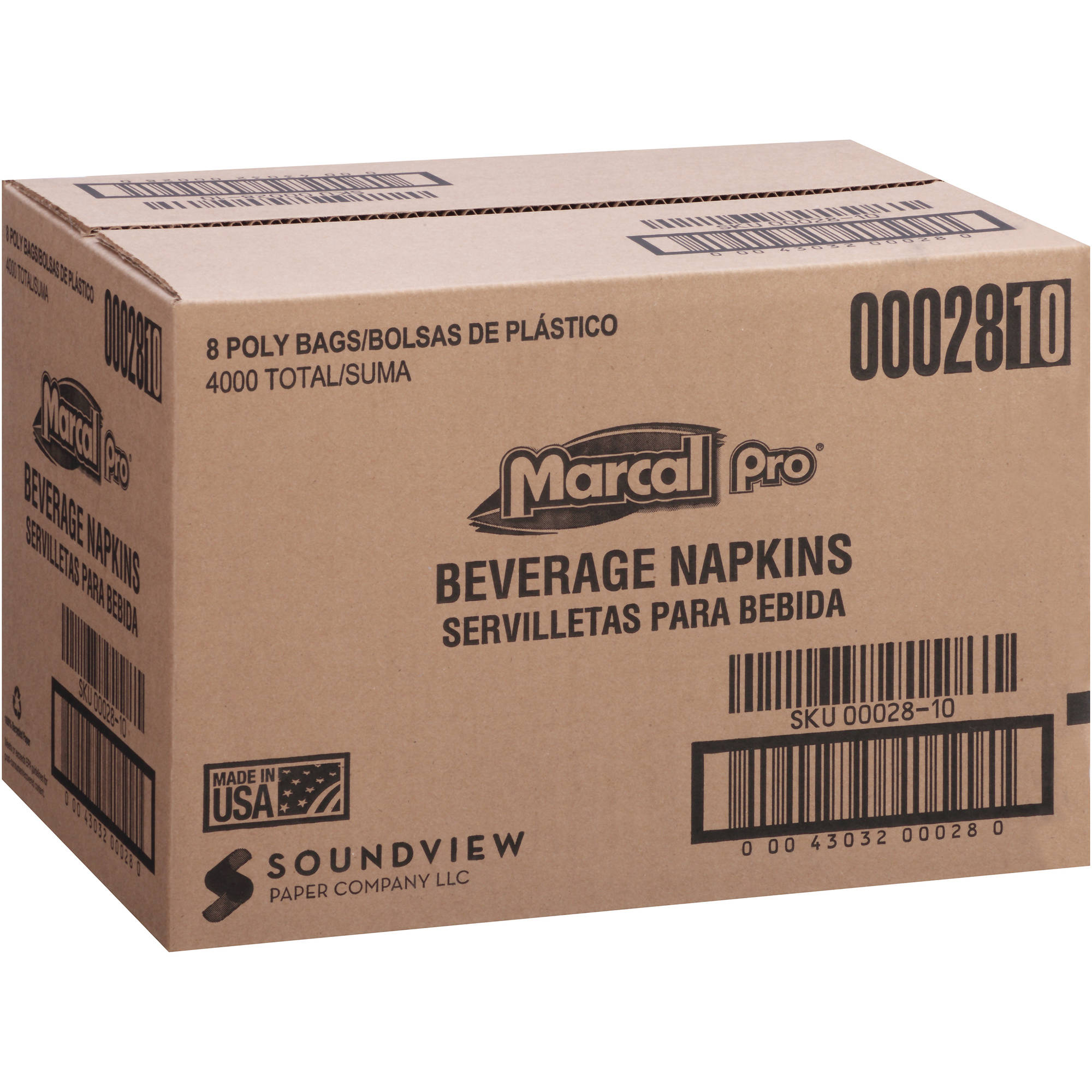 Marcal Pro Beverage Napkins, 500 count, (Pack of 8)