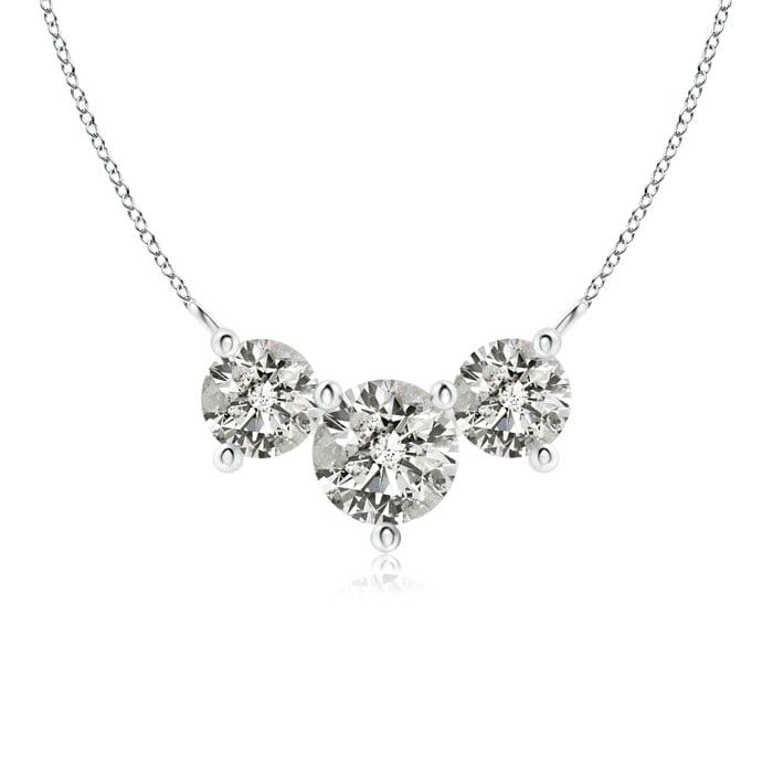 April Birthstone Pendant Necklaces Classic Trio Diamond Necklace in Platinum (6mm Diamond) SP0703D-PT-KI3-6 by Angara.com