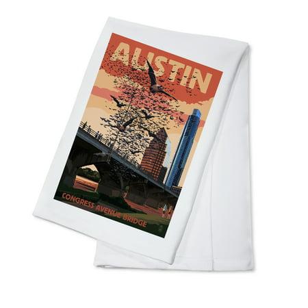 Austin, Texas - Bats & Congress Avenue Bridge - Lantern Press Artwork (100% Cotton Kitchen Towel)](Halloween Stores Austin Texas)
