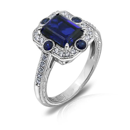 Gemour Platinum Plated Sterling Silver Created Sapphire vintage style ring with Swarovski Zirconia Accents