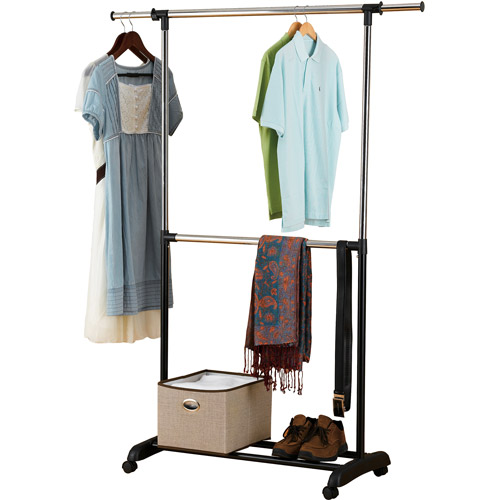 Good Mainstays Adjustable 2 Tier Rolling Garment Rack, Chrome And Black