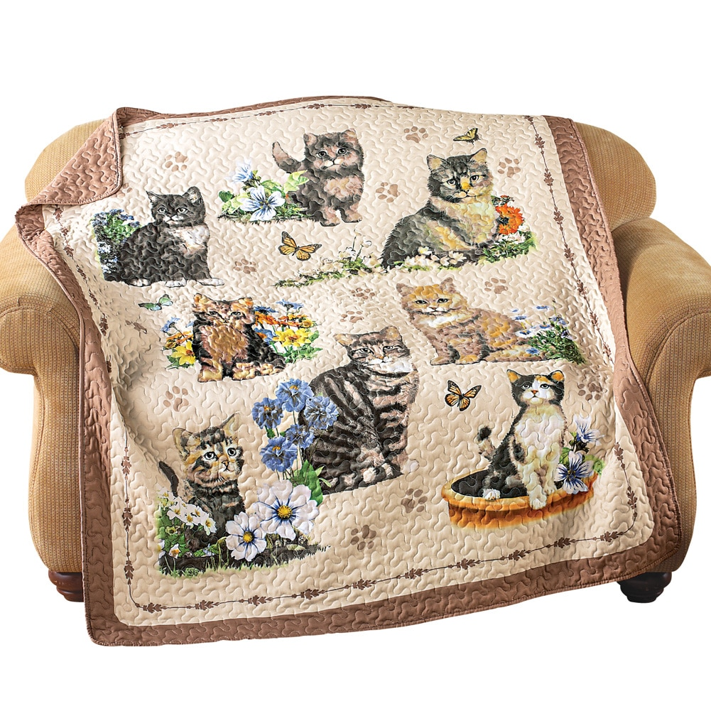 Quilted Throw Blanket, Charming Cat / Kitten and Floral Collage, 6' x 5' , Multi