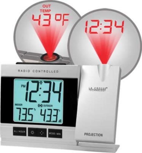 Lacrosse Technology WT-5220U-IT-CBP La Crosse Technology Wt-5220u-it-cbp Atomic Projection Alarm Clock With Outdoor Temperature