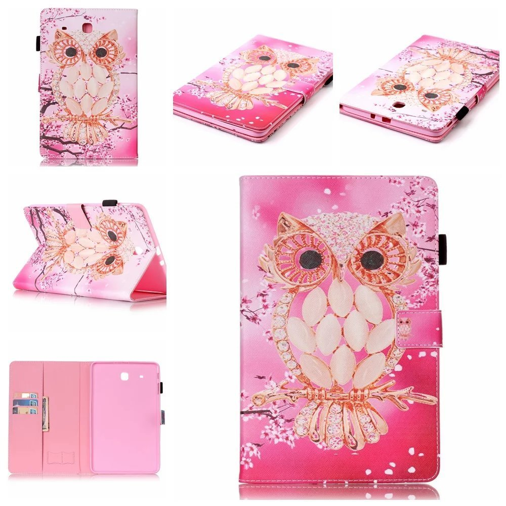 "Galaxy Tab E 9.6"" Tablet Case, SM-T560 9.6 Inch Case, UUcovers Lightweight PU Leather Magnetic Protective Case with Auto Wake/ Sleep Slim Folio Stand Cover Shell for Samsung Galaxy Tab E 9.6, Pink Owl"