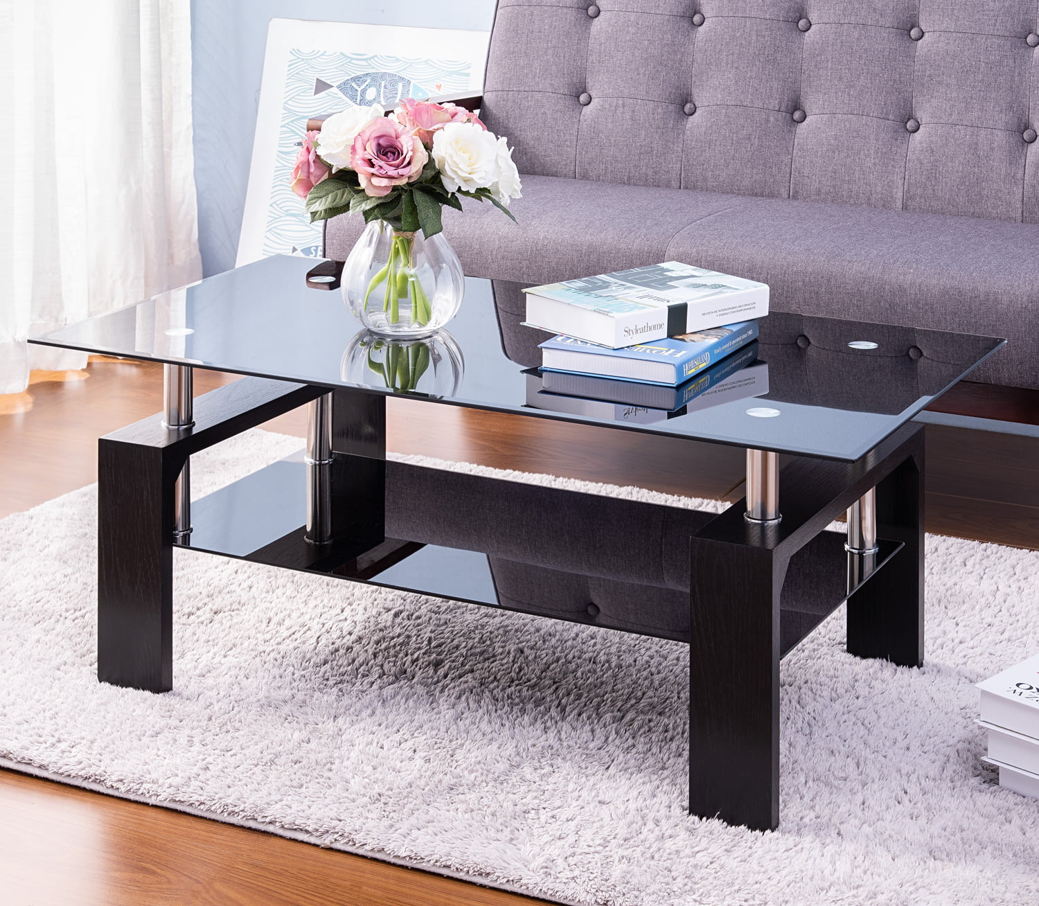 Picture of: Rectangle Glass Coffee Table Modern Side Center Table With Shelf Wood Legs Mid Century Tempered Glass Top Tea Table For Living Room Home Furniture Cocktail Coffee Table Black B1257 Walmart Com