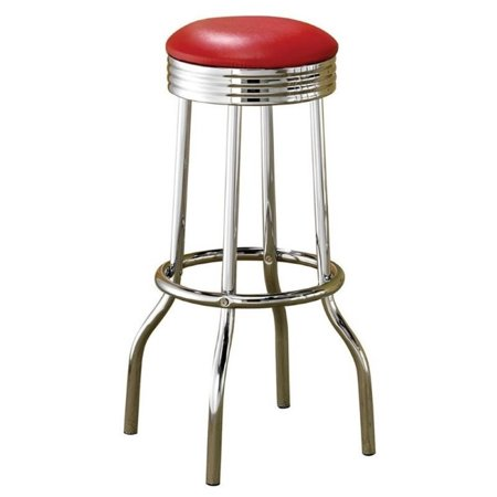 """Bowery Hill 29"""" Chrome Plated Soda Fountain Bar Stool in Red"""