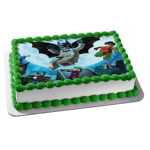 Astonishing Lego Dc Comics Batman Robin Joker Catwoman Edible Cake Topper Personalised Birthday Cards Paralily Jamesorg