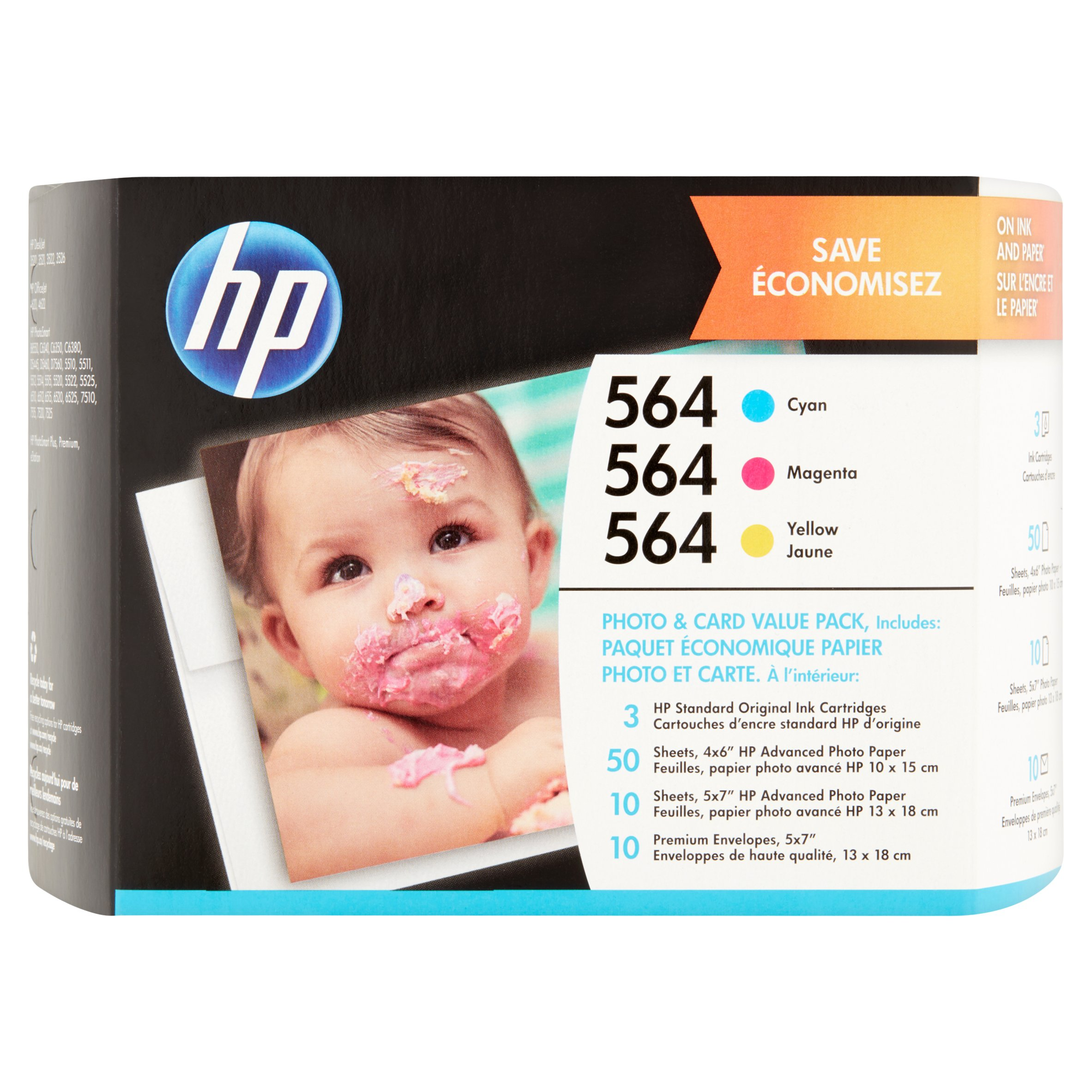 HP 564 Cyan Magenta Yellow Ink Cartridges with Photo Paper and Cards, 3-Pack (J2X80AN) by HP